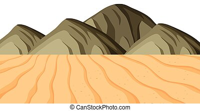 Landscape background with sand and mountains