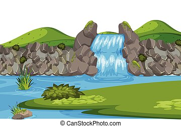 Landscape background with waterfall and green field