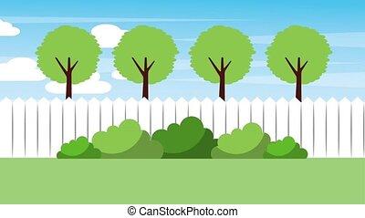 landscape backyard fence trees bushes nature animation hd