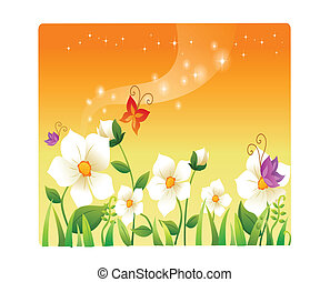 landscape beautiful flowers cartoon
