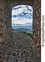 Landscape between stones