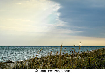 landscape blue sea sky and clouds