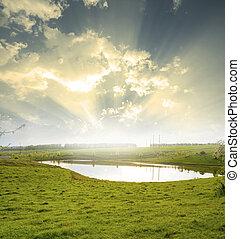 Landscape blue sky and river