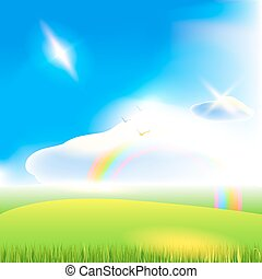 Landscape. Blue sky background. Vector art.
