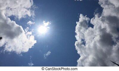 Landscape, blue sky with clouds timelapse