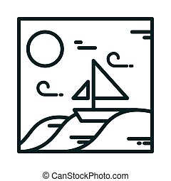 landscape boat in the sea wind sun cartoon line icon style