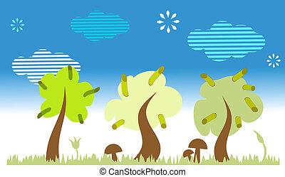 landscape, bomen, natuur
