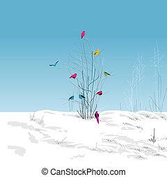 landscape, boom winter, kleurrijke, vogels