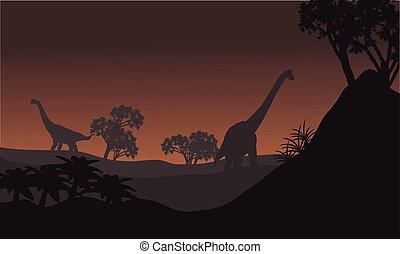 Landscape brachiosaurus at night