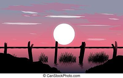Landscape bridge sunset background
