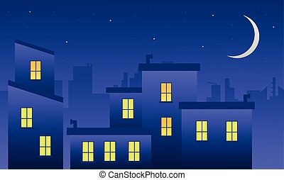 Landscape building at night of silhouette