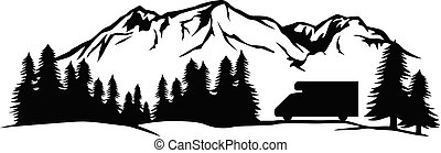 Landscape - camping in mountains with truck camper (adventure and travel design).