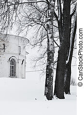 Landscape. Church and trees. Winter in Russia