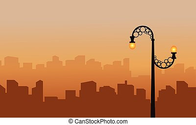 Landscape city with street lamp silhouette