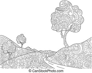 Landscape coloring book for adults vector