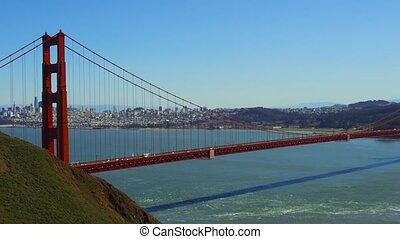 view of golden gate bridge over san francisco bay -...