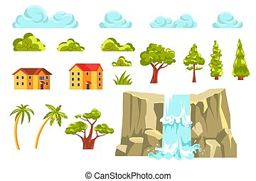 Landscape constructor set with trees and waterfall