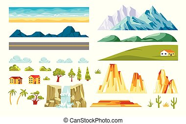 Landscape constructor vector isolated elements - Landscape...