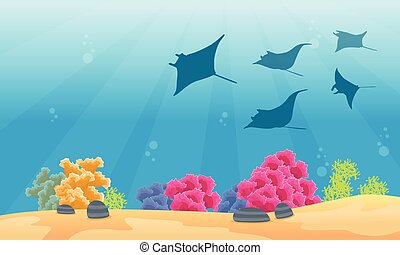 Landscape coral reef with stingray silhouettes