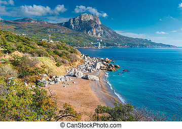 Landscape - Crimea peninsula, nature in autumn on a sunny day. View of the mountains and the sea