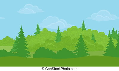Full HD 1920x1080 progressive seamlessly looping video of fast passing by noon summer forest, as if looking out the car window. Nature animated background