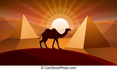 Landscape desert - camel illustration.