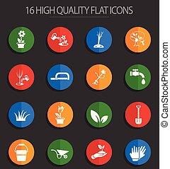 landscape design 16 flat icons