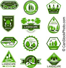 Landscape design badge set of park and garden tree