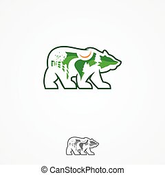 Landscape design company or green landscaping studio icon forming a bear. Vector symbol of green trees in forest park or woodlands for landscaping service and eco green design. Vector illustration EPS.8 EPS.10