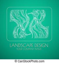 Landscape design emblem vector.