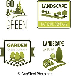 Landscape design, gardening service emblem set