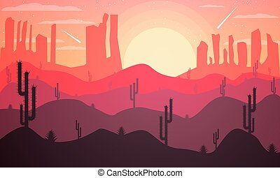 Landscape design of the desert with cacti