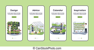 Landscape design onboarding mobile app screen flat vector template. Gardener advice and calendar. Walkthrough website steps with characters. UX, UI, GUI smartphone cartoon interface, case prints set
