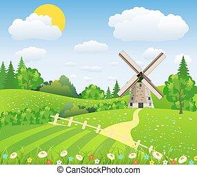 Landscape design over sky background,