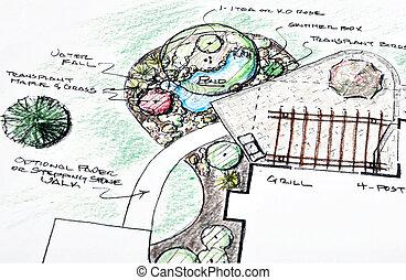 Landscape design - Plan for landscape design with pergola...