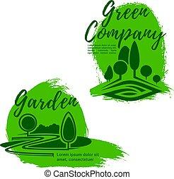 Landscape design studio emblem set with green tree