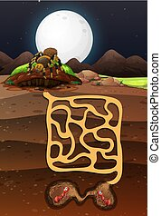 Landscape design with ants underground illustration