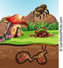 Landscape design with ants underground