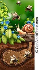 Landscape design with bees underground