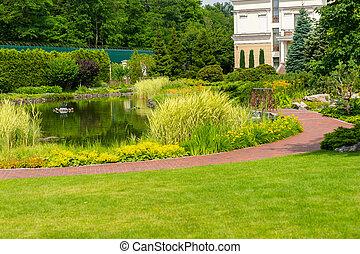 Landscape design with man-made lake