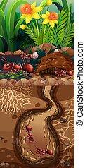 Landscape design with red ants underground