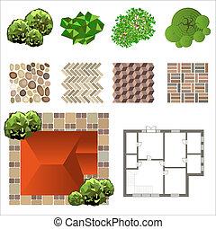 Detailed landscape design elements. Make your own plan. Top view