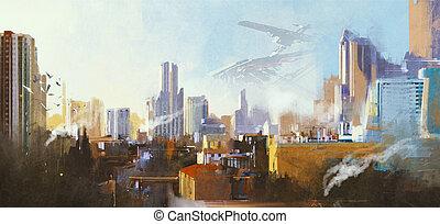 futuristic sci-fi city - landscape digital painting of...