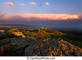 landscape dusk - view over the escarpment at dusk in...