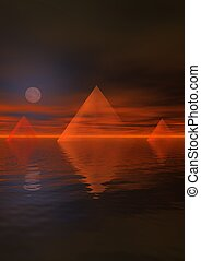 landscape egypt - landscape and moon and pyramids
