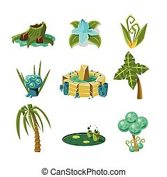 Landscape Elements Set Of Flat Vector Cute Isolated Icons ...