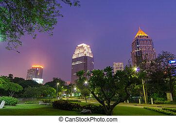 Landscape evening at Lumpini Park, Bangkok Thailand