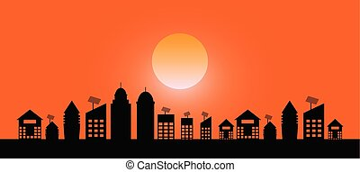 landscape evening view of the city with on sundown background