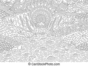 Landscape for coloring book with river and fishes