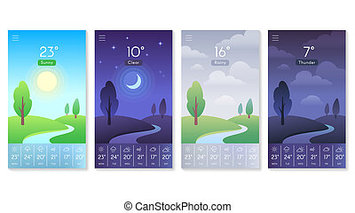 Landscape for weather app. Beautiful daytime sky with sun, moon and clouds. Morning and day background for mobile screen vector concept